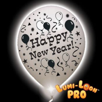 New Year Lumi-Loons White Balloons White Lights - 10 Pack