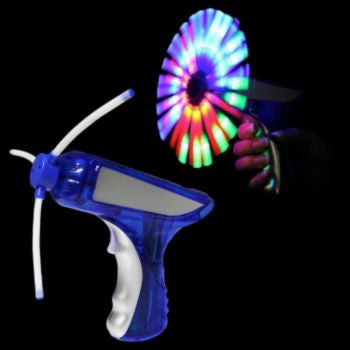 Blue And Silver LED Spinning Toy Gun - 6 Inch