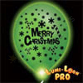 White Merry Christmas Balloons w/ LEDs -10 Pack
