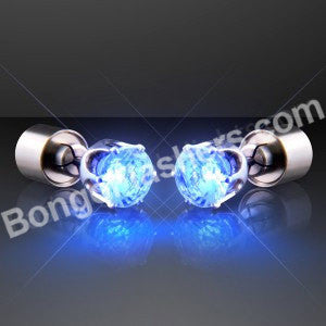 Blue LED Faux Sapphire Pierced Earrings