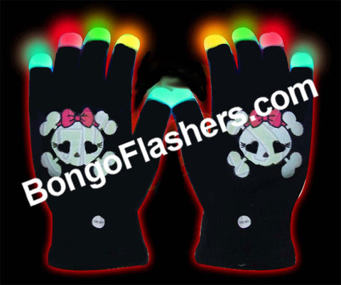 Black Gloves with Flashing Fingertips & Skull Girl Emblem (1 PAIR)