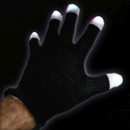 Black LED Gloves Raver Rave Hands