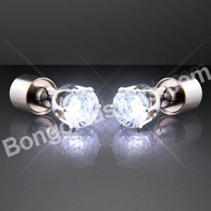 White LED Faux Diamond Pierced Earrings