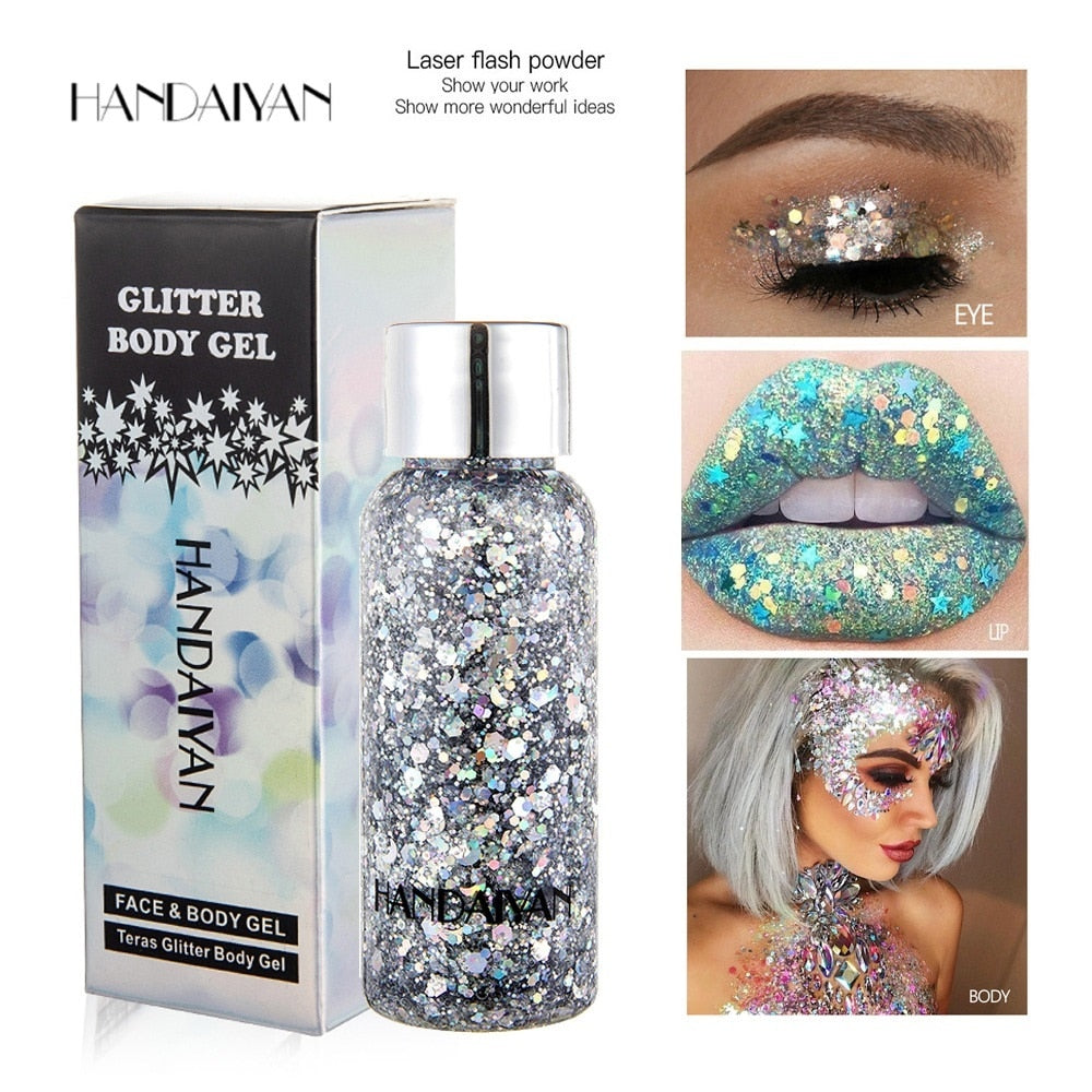 Holographic Glitter Eyeshadow Gel Body Face Eye Liquid Loose Sequins Flash Mermaid