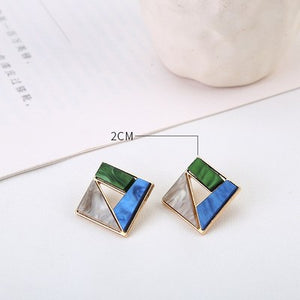 Summer Blue Geometric Acrylic Earrings