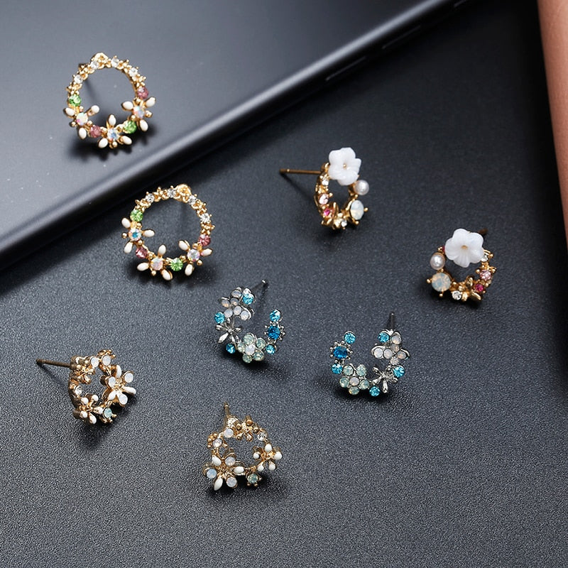 Cute Korean Personality Small Flower Stud Earrings