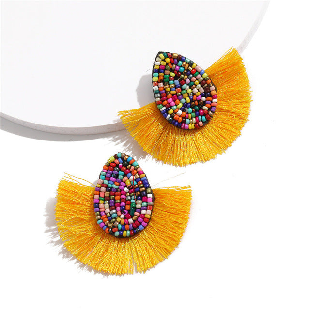 Bohemian Beaded Tassel Earrings