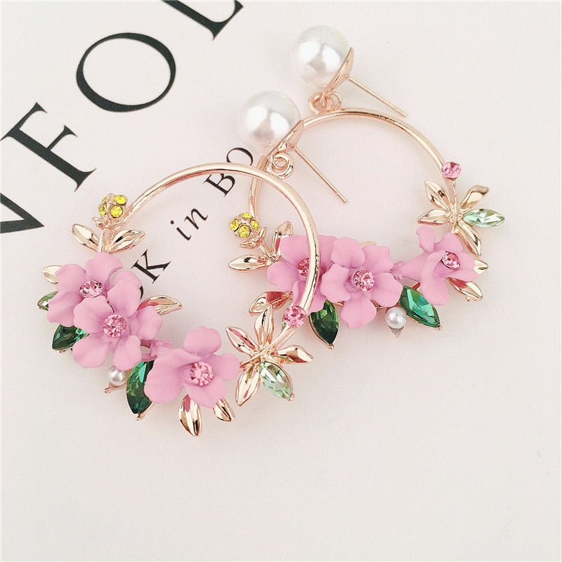 Trendy Cute Pink Flower Earrings