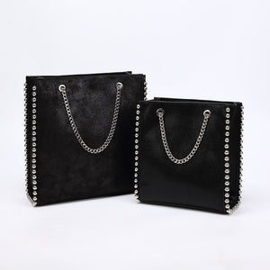Retro Large Capacity Tote Bag Women Fashion Chain Rivet Shoulder Bags Lady Commuting Pu Leather Purses Bags Solid Color Bag Bead