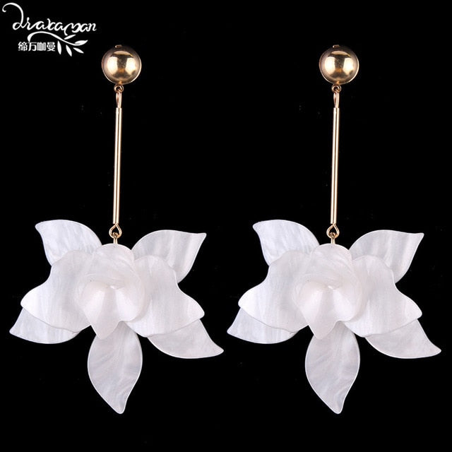 Spring White Big Earrings