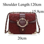 Sequins Chain Messenger Bag Large Retro