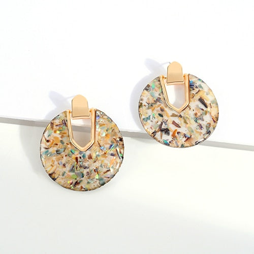 Colorful Resin Acrylic Round Dangle Earrings