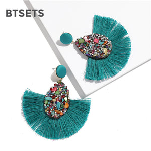 Colorful Crystal Tassel Earrings