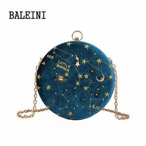 Starry Sky Circular Fashion Suede Shoulder Bag