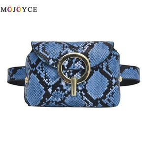 Fashion Leather Snake Print Belt Bag