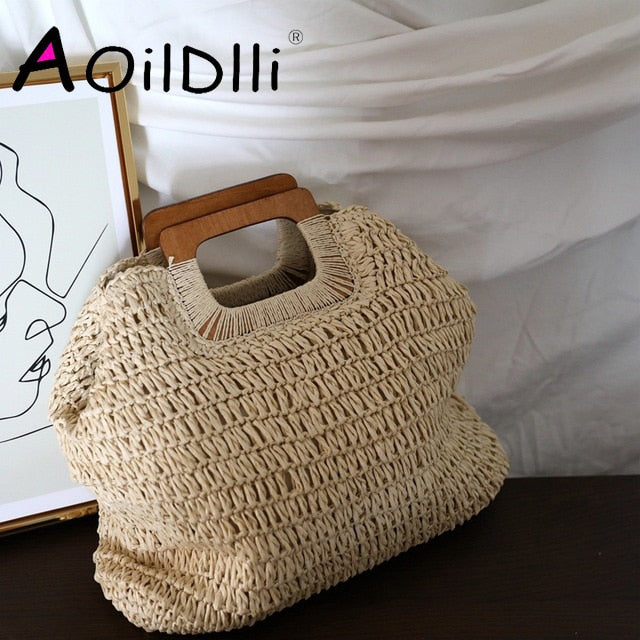 Korean caramel color ins wind handmade straw bag handbag lady summer large capacity French retro beach bag