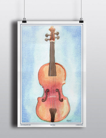 Watercolor Violin Poster