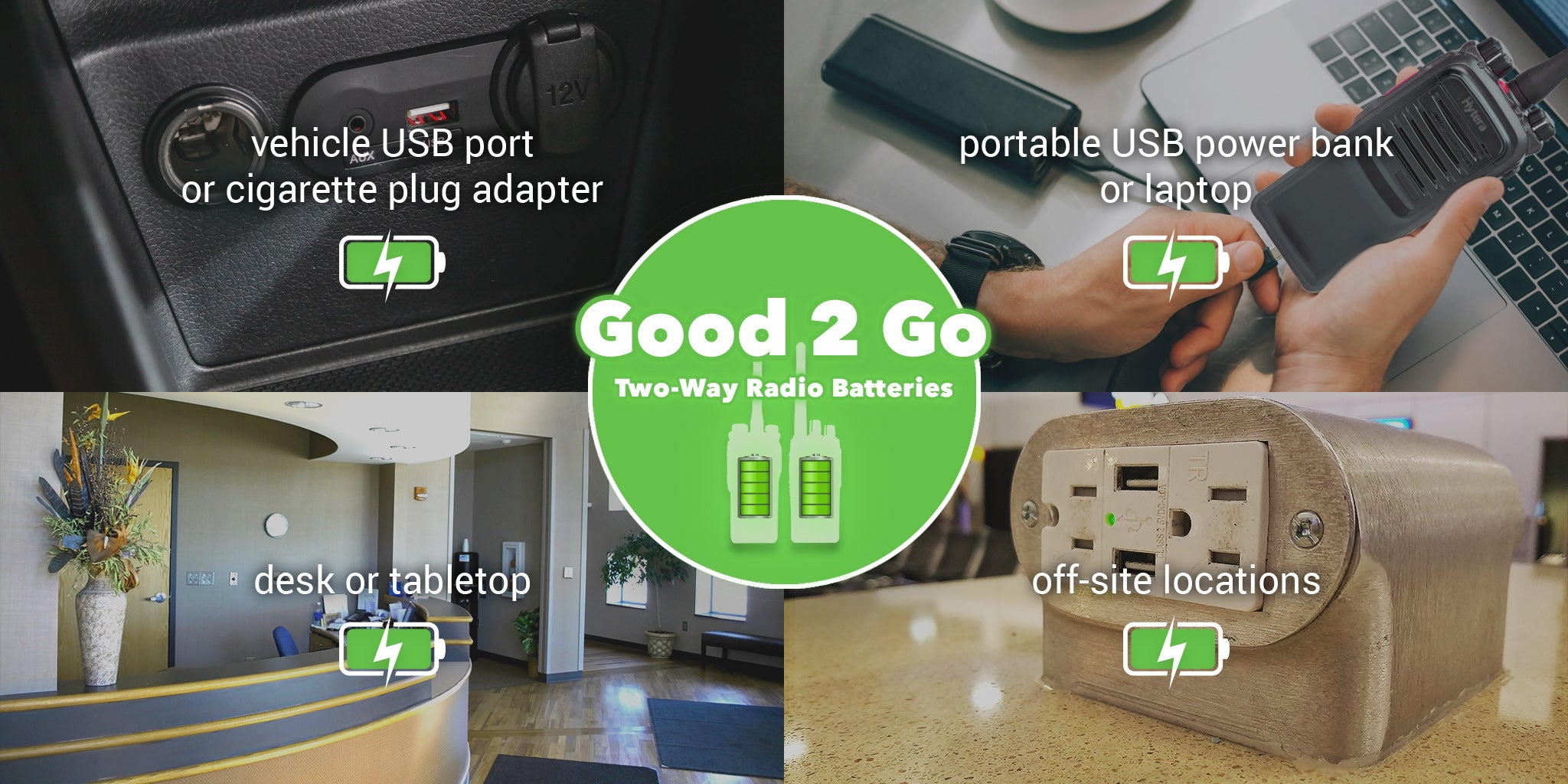Vehicle USB port or cigarette plug adapter. Portable USB power bank or laptop. Desk or tabletop. Off-site locations.