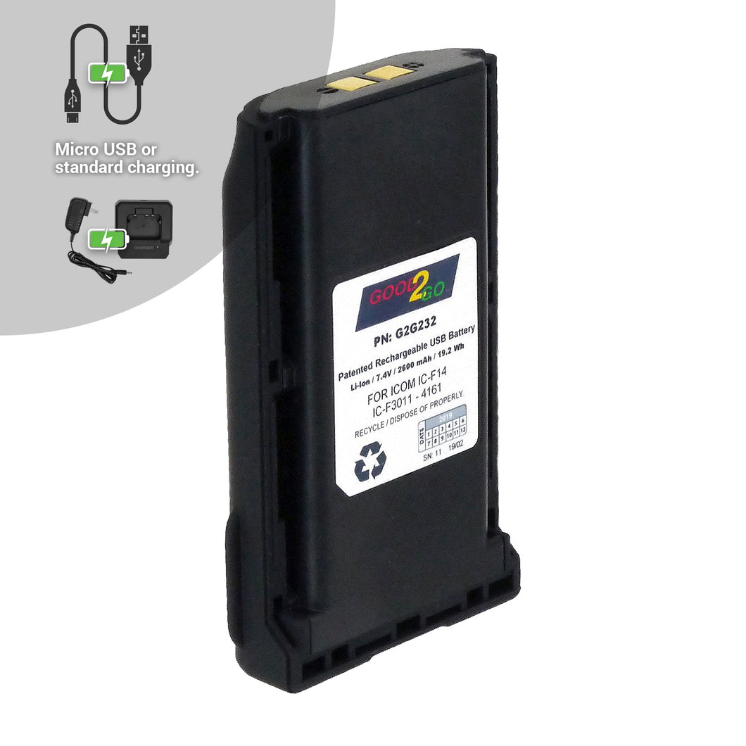 Good 2 Go G2G232 2000mAh Li-ion Battery with Micro USB Charging Port for Icom Portable Two-Way Radios