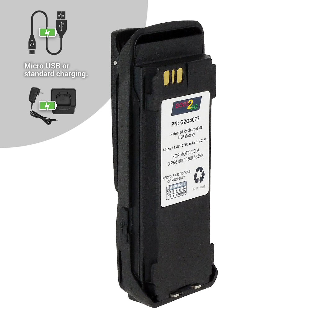 Good 2 Go G2G4077 2600mAh Li-ion Battery with Micro USB Charging Port for Motorola and Vertex Portable Two-Way Radios