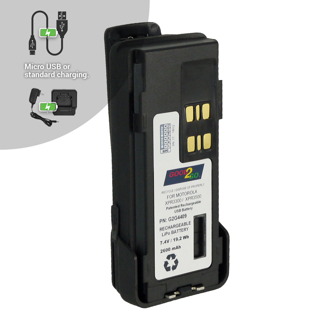 Good 2 Go G2G4409 2600mAh Li-ion Battery with Micro USB Charging Port for Motorola Portable Two-Way Radios