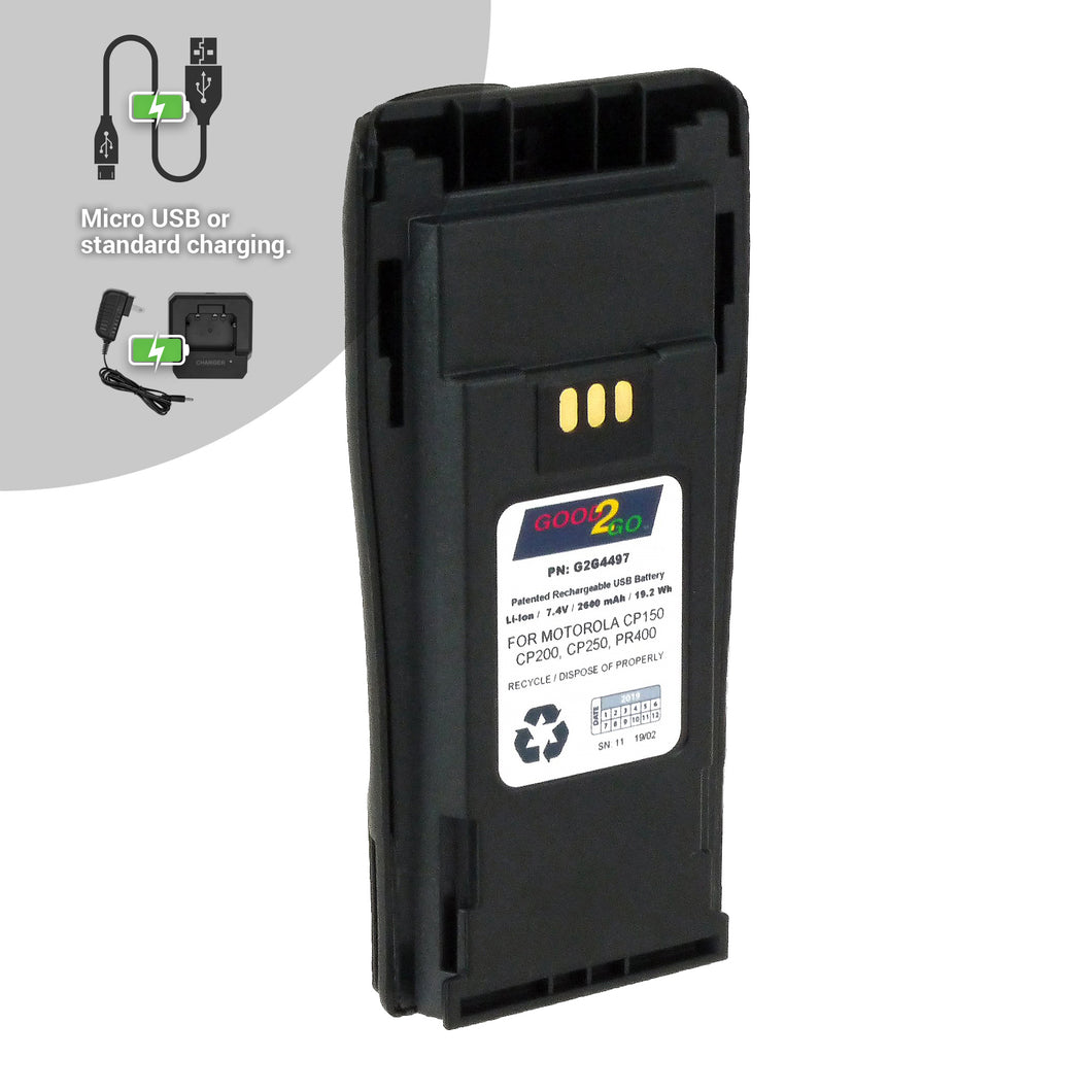 Good 2 Go G2G4497 2600mAh Li-ion Battery with Micro USB Charging Port for Motorola Portable Two-Way Radios