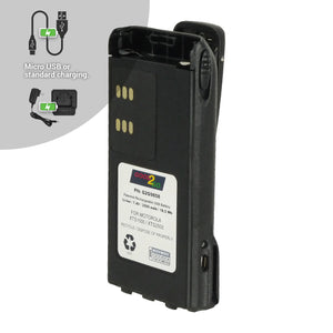 Good 2 Go G2G9858 2500mAh LiPo Battery with Micro USB Charging Port for Motorola Portable Two-Way Radios