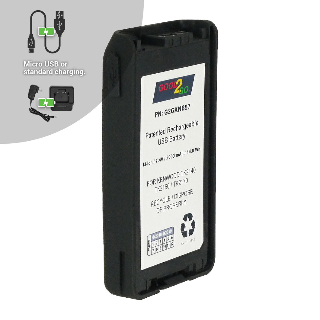 Good 2 Go G2GKNB57 2000mAh Li-ion Battery with Micro USB Charging Port for Kenwood Portable Two-Way Radios
