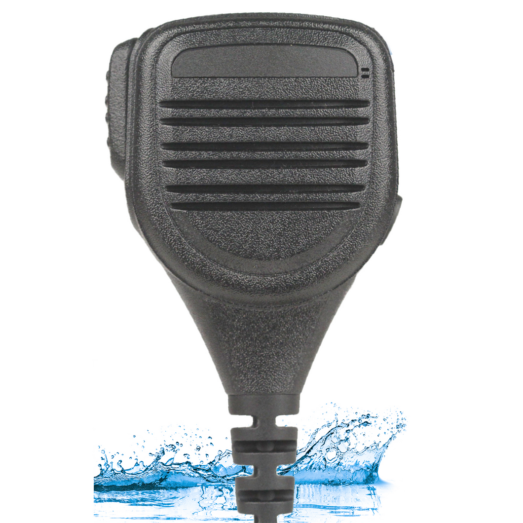 SM6WL Compact Heavy Duty IP67 Rated Waterproof and Dust-Proof Speaker Microphone with Extra Long 4.3mm Cable and 3.5mm Accessory Jack