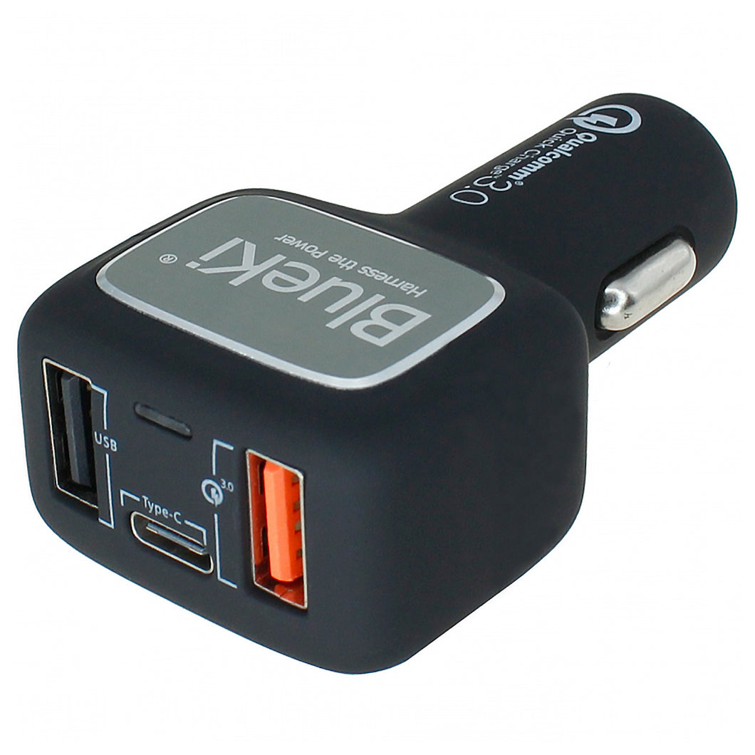 BlueKi 3-Port USB Car Charger with USB Quick Charge 3.0, USB-C, and USB Smart Sensing Technology