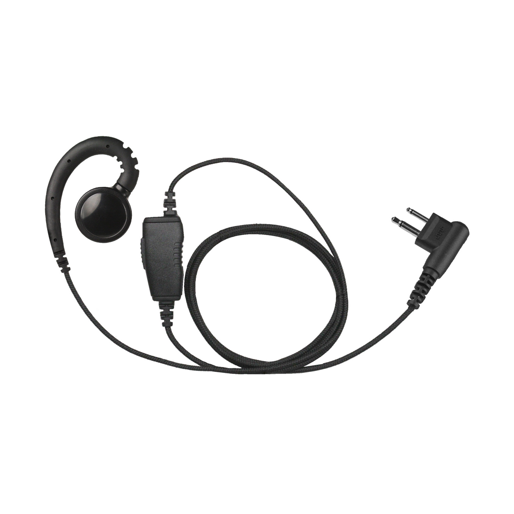 SWVL+1W Swivel 1-Wire Earpiece with Inline PTT and Microphone plus Braided Fiber Cloth Shielding