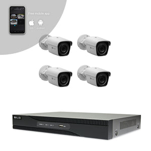 Alibi Indoor/Outdoor Video Surveillance Security System with (4) 2MP H.265 Bullet IP Cameras and 4-Channel NVR with 2TB Hard Drive