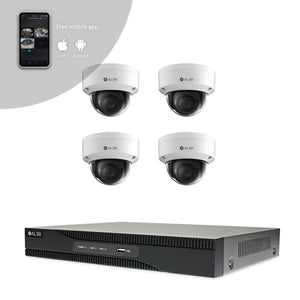 Alibi Indoor/Outdoor Video Surveillance Security System with (4) 2MP H.265 Dome IP Cameras and 4-Channel NVR with 2TB Hard Drive