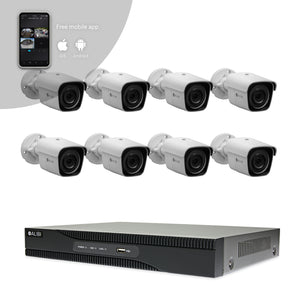 Alibi Indoor/Outdoor Video Surveillance Security System with (8) 2MP H.265 Bullet IP Cameras and 8-Channel NVR with 2TB Hard Drive