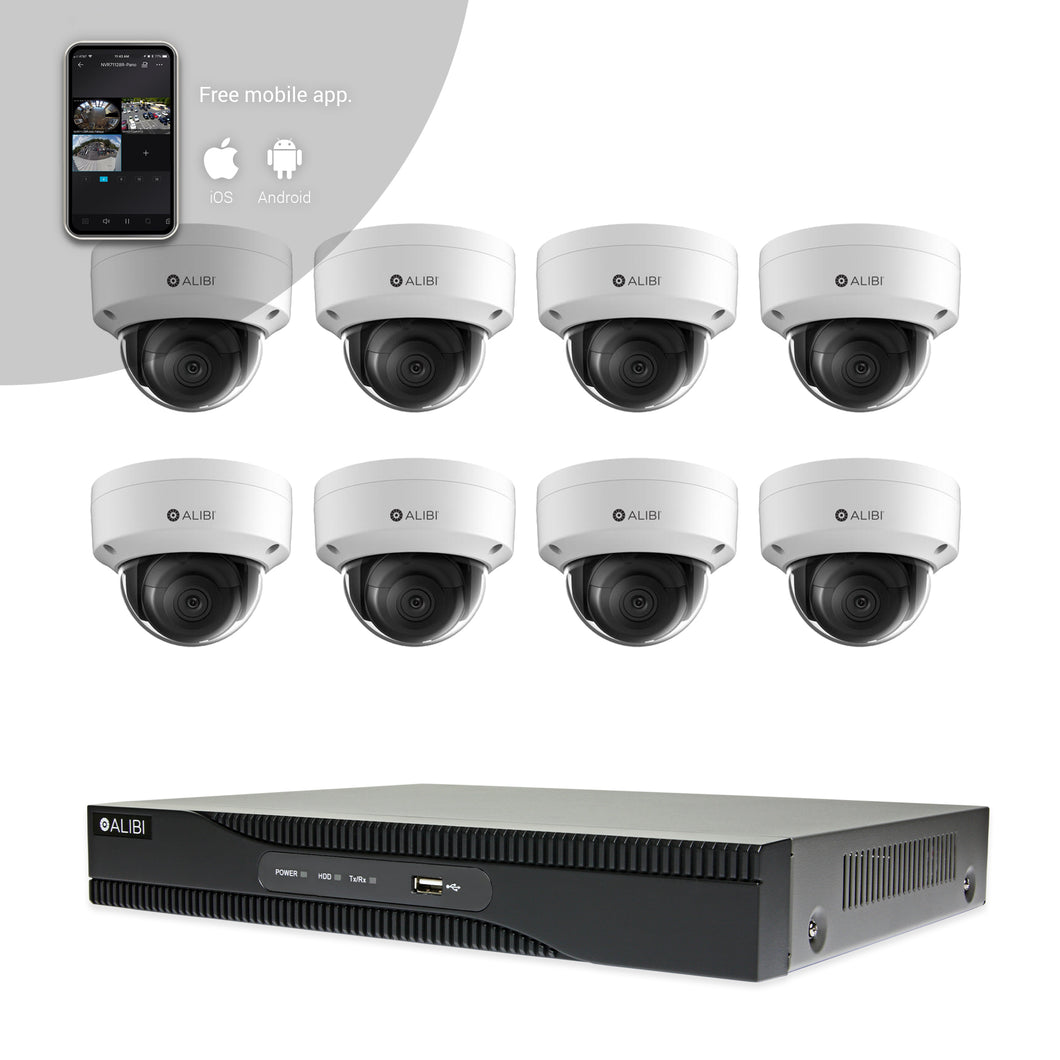 Alibi Indoor/Outdoor Video Surveillance Security System with (8) 2MP H.265 Dome IP Cameras and 8-Channel NVR with 2TB Hard Drive