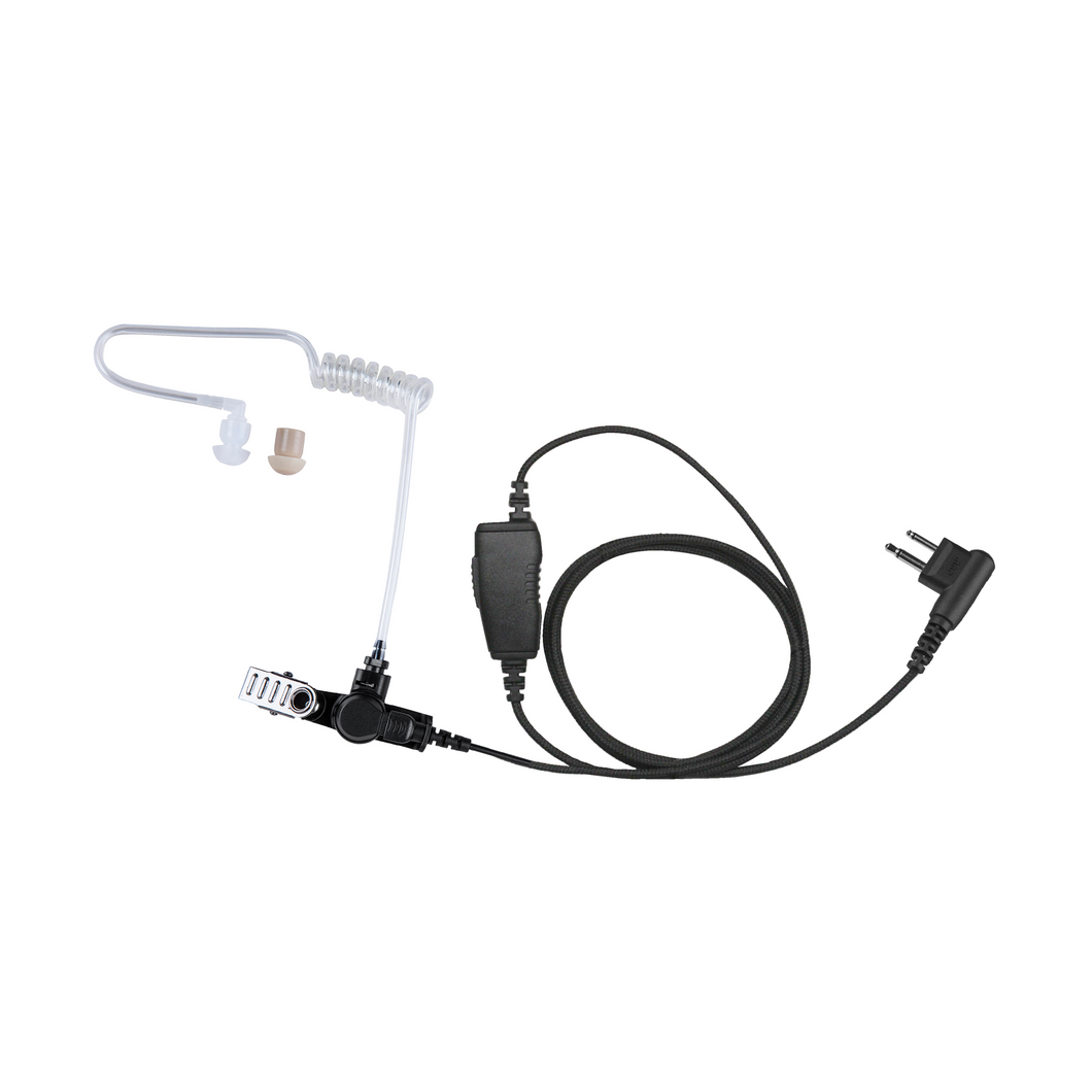 AT1W Acoustic Tube 1-Wire Earpiece Kit with Inline PTT and Microphone and Surgical Tubing with UV Protection