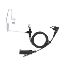 Load image into Gallery viewer, AT+2W Acoustic Tube 2-Wire Earpiece Kit with Clip-On PTT and Noise-Canceling Microphone Plus Braided Fiber Cloth Shielding and Surgical Tubing with UV Protection