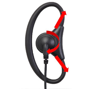 DRA1W D-Ring 1-Wire Adjustable Flexible Earpiece with Inline PTT and Microphone