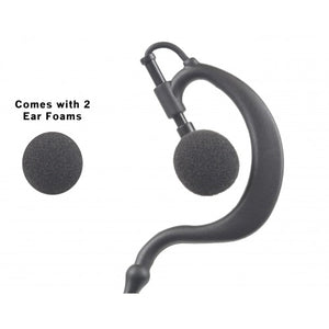 EH2W Ear Hook 2-Wire Earpiece with Clip-On PTT and Microphone