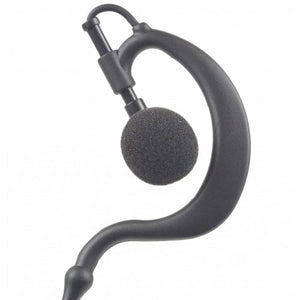 EH+1W Ear Hook 1-Wire Earpiece with Inline PTT and Microphone plus Braided Fiber Cloth Shielding