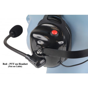 HS4 Heavy Duty Behind-the-Head Lightweight Dual Muff Headset with Noise-Canceling Flex Boom Mic and PTT on the Headset (Headset Only)