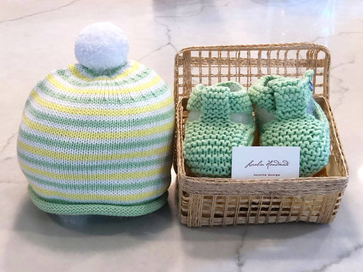 Pom-Pom Booties and Hat Set in Basket - Kradle Me
