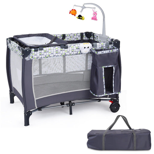 3 in 1 Portable Baby Play yard with Foldable Bassinet, Changing Table, and Bed - Kradle Me