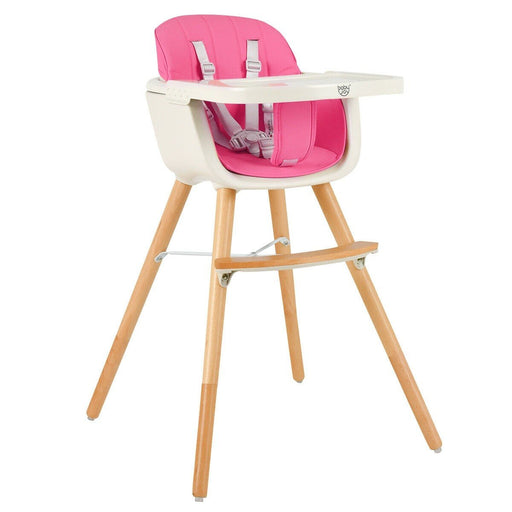 3-in-1 Convertible Wooden Baby High Chair with Cushion - Kradle Me