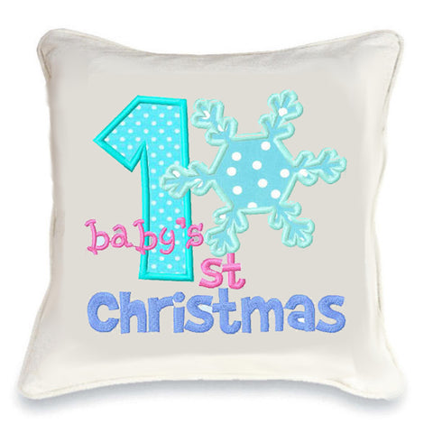 Baby's First Christmas Snowflake Cushion