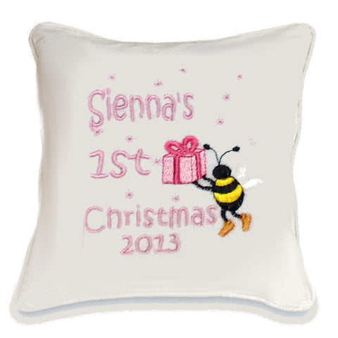 Baby's First Christmas Bee Cushion