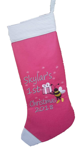 Baby's First Christmas Bee Stocking