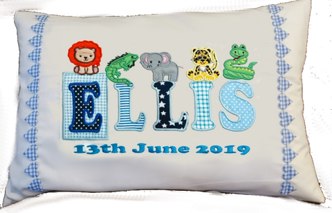 Name and Animals applique cushion