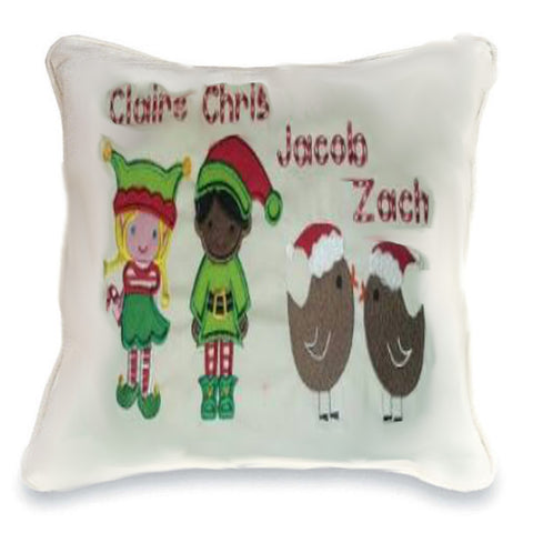 Christmas Family Cushion (elves & robins) Cushion
