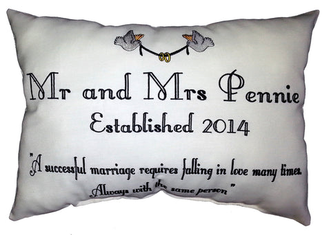 Mr & Mrs Quote (doves graphic) Cushion